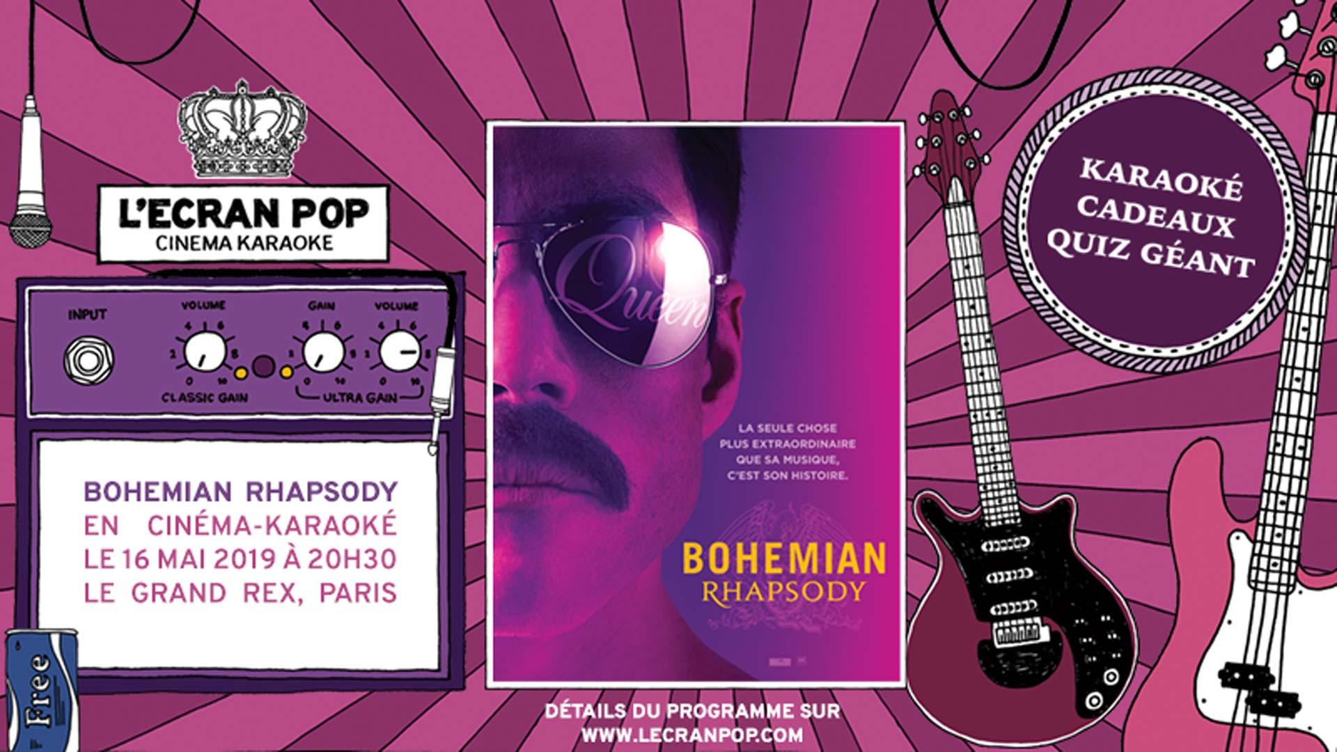 Visuel du jeu-concours pour participer au cinéma-karaoké de Bohemian Rhapsody au Grand Rex avec TF1 et Vous