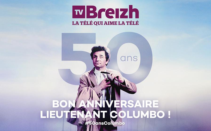 Visuel de l'anniversaire des 50 ans de Columbo avec TV Breizh