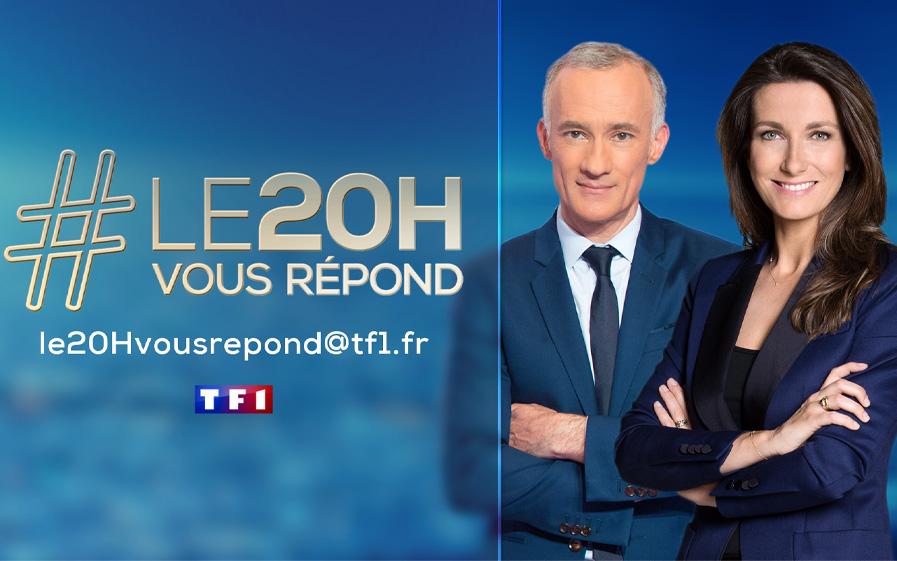 """Visuel de la rubrique """"Le 20H vous répond"""" avec Gilles Bouleau et Anne-Claire Coudray"""