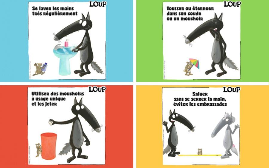 Les gestes barrières expliqués aux enfants par Loup